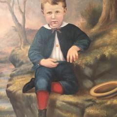 """W.A. King Folk Art Oil on Artist's Board """"Portrait of a Young Boy"""""""