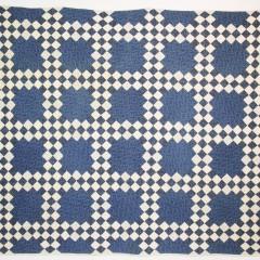 Antique Blue and White Irish Chain Patchwork Quilt