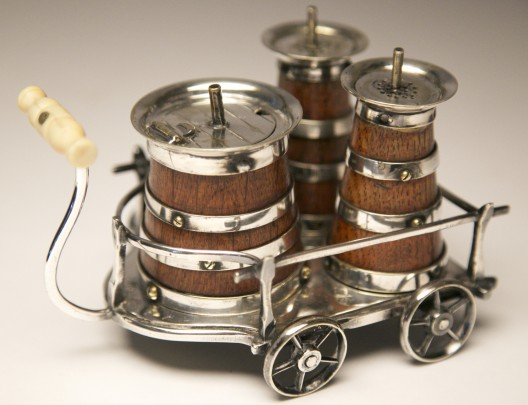 19th Century English Silver Plated and Oak Three-Piece Condiment Carriage