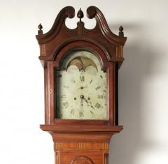 Moses Stiles Hanover Township N.J. Inlaid Mahogany Tall Case Clock