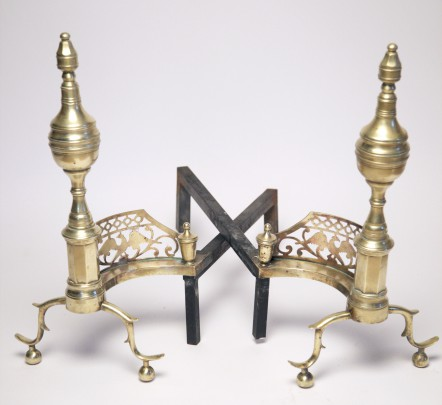 Pair of 19th Century Brass Multi-Turned and Pierced Eagle Andirons