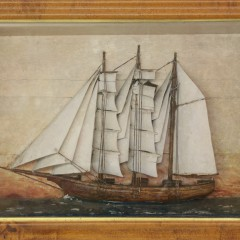 19th Century Sailor Made Shadow Box of a Three-Masted Ship