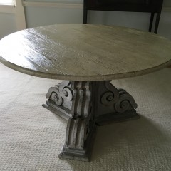 White Washed Round Folksy Pedestal Dining Table