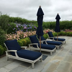 Set of Four Gloster Ventura Chaise Lounge Chairs, with navy upholstered cushions