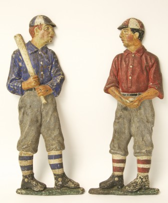 Pair of Cast Iron Polychrome Decorated Baseball Player Andirons