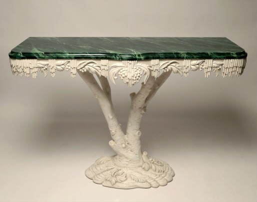 """White Painted """"Tree Branch"""" Shaped Console Table"""