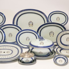 Late 18th Century Chinese Export Partial Porcelain Dinner Service