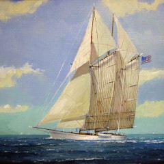 "William W. Lowe Oil on Linen ""Schooner at Sea"""