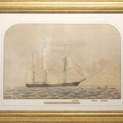"""Benjamin Russel Watercolor on Paper """"The Whaling Bark Canton"""""""