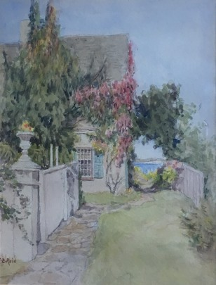 """Jane Brewster Reid Watercolor on Paper """"Wisteria Cottage"""""""