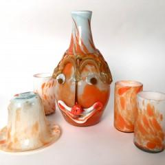 Italian Murano Hand Blown Glass Clown Decanter & Three Glasses