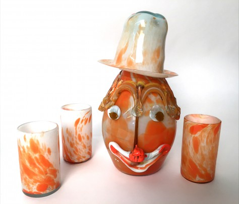 Italian Murano Glass Clown Decanter & Three Glasses