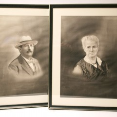 Pair of Vintage Black and White Pastel Portraits of a Man and Woman