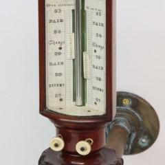 19th Century Thomas Downie Carved Mahogany Sympiesometer Gimballed Stick Barometer
