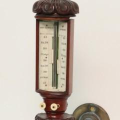 19th Century Thomas Downie Carved Mahogany Stick Barometer