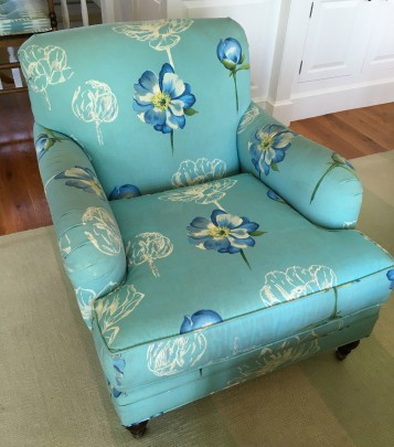 Teal Floral Upholstered Pr. Chairs