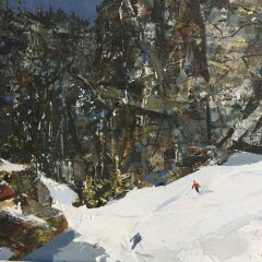 """John Loren Head Oil on Board """"Winter Landscape Skiing"""""""