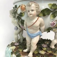 19th Century Dresden Porcelain Kerosene Lamp