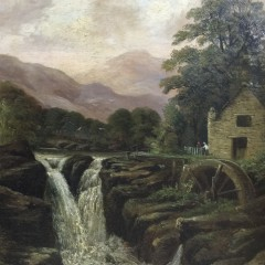 """19th Century Oil on Canvas """"Watermill Landscape"""""""
