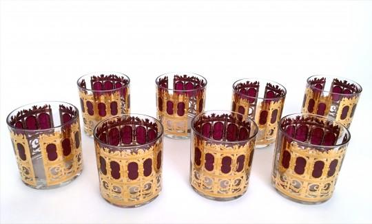 "Set of Eight 1960s Vintage Culver LTD ""Cranberry"" Rocks Glasses"