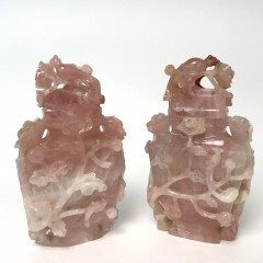 Two Antique Chinese Carved Rose Quartz Covered Urns