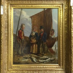 "Early 19th Century Oil on Canvas ""Fish Mongers"""