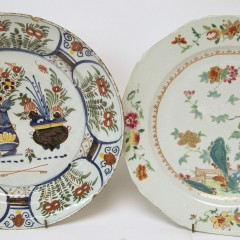 18th C. Delft Charger and 18th C. Chinese Export Famille Charger