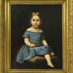 Oil on Canvas of Young girl in blue Dress, gilt Frame