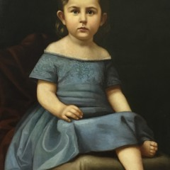 """19th Century Oil on Canvas """"Portrait of a Young Girl"""""""