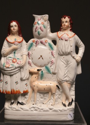 19th C. Staffordshire Figural Group with Clock and Deer