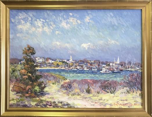 "Jan Pawlowski Oil on Canvas View of Town of Nantucket from Monomoy 30"" x 40"""