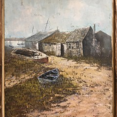 "Douglas Fraizer Oil on Canvas ""Madaket Shipyard,"" signed lower right Fraizer."