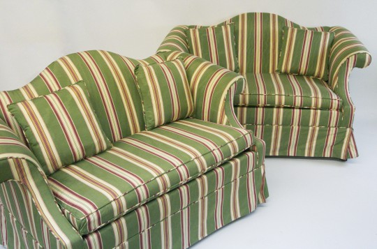 Pair of Petite Upholstered Camelback Settees