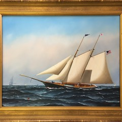 """Jerome Howes Oil on Board """"American Yacht,"""" signed lower right."""