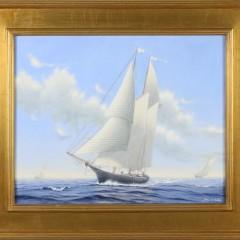 """Alan J. Eddy Oil on Canvas """"Three American Vessels at Full Sail"""""""