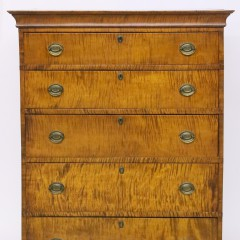 Bench Made Tiger Maple Chippendale Style Chest of Drawers