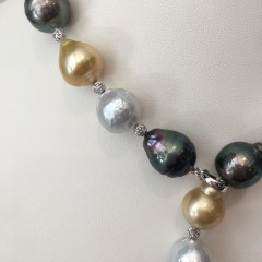 12mm – 14.2mm South Sea and Tahitian Baroque Pearl Lariat Necklace
