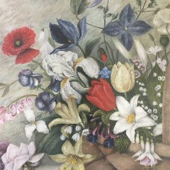 """19th Century Oil on Canvas """"Flowers in a Basket"""""""