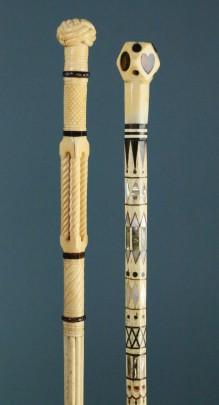 Whale Ivory and Whalebone Lady's Walking Stick & Whale Ivory, Whalebone, Mother-of-Pearl, Abalone, Tortoiseshell and Baleen Walking Stick,
