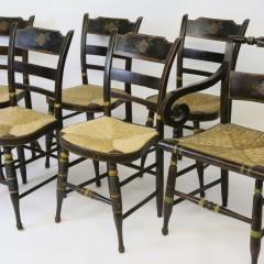 Set of Six American Sheraton Rush Seat Dining Chairs