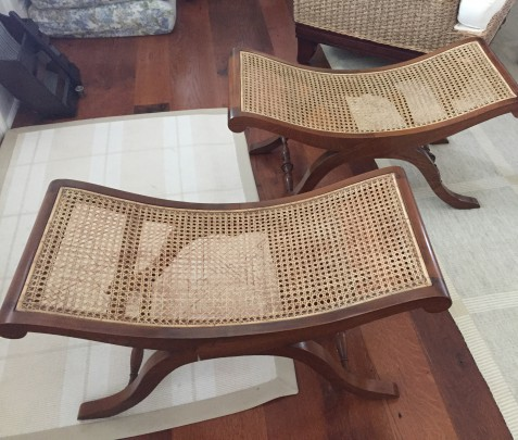 Pair of Contemporary Caned Seat Mahogany X-Form Stools