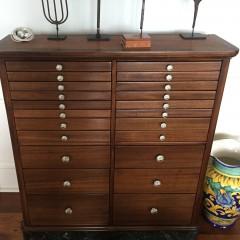 19th Century Walnut Multi-Drawer Dental Cabinet