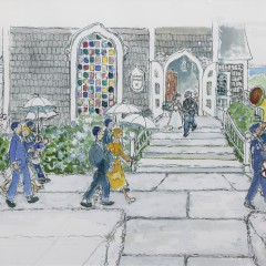"Barbara Kauffmann-Locke Watercolor On Paper ""'Sconset Chapel Wedding"""
