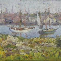 "Frederick Carl Smith Oil on Artist's Board ""View of Gloucester, Massachusetts"""