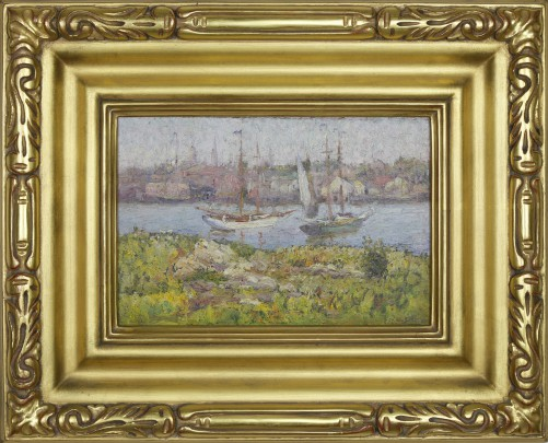 """Frederick Carl Smith Oil on Artists Board """"View of Gloucester, Massachusetts"""""""