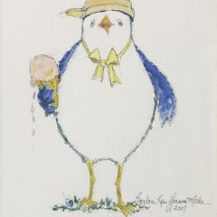 "Pair of Barbara Kauffman-Locke Watercolors on Paper ""Husband & Wife Seagulls"""