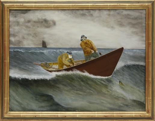 """Early 20th Century American School Oil on Artist's Board """"Cod Fishermen"""""""