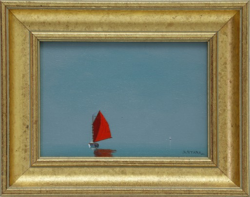 "Robert Stark, Jr. Oil on Canvas ""Red Sail on a Calm Sea"""