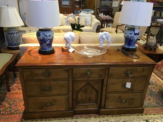 English Yew Wood Veneered Side Cabinet