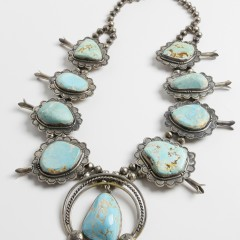 Large and Impressive Navajo Sterling Silver and Turquoise Squash Blossom Necklace